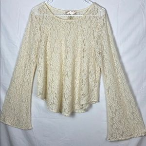 Band of Gypsies ivory lace top with bell sleeves M